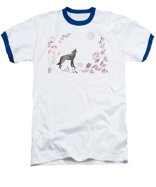 Twilight Wolf Baseball T-Shirt by Amanda Lakey