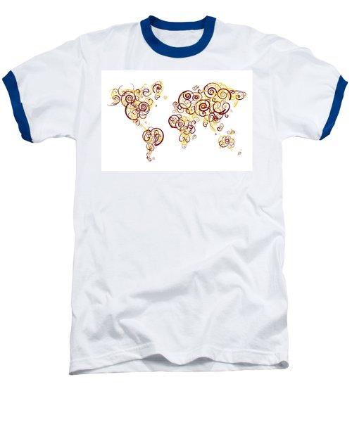 University Of Minnesota Twin Cities Colors Swirl Map Of The Worl Baseball T-Shirt by Jurq Studio