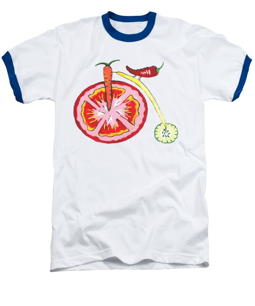 Veggie Bike Baseball T-Shirt by Kathleen Sartoris