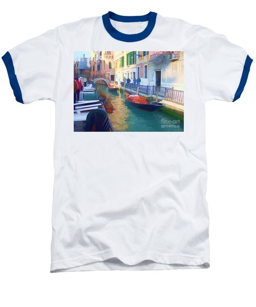 Baseball T-Shirt featuring the photograph Venice Sidewalk Cafe by Roberta Byram