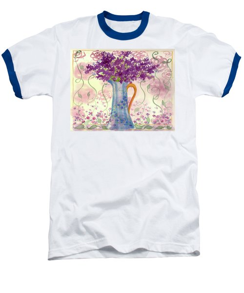 Baseball T-Shirt featuring the painting Vintage Blue Flower Bouquet by Cathie Richardson