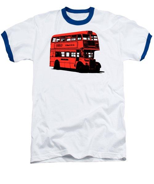 Vintage Red Double Decker London Bus Tee Baseball T-Shirt by Edward Fielding