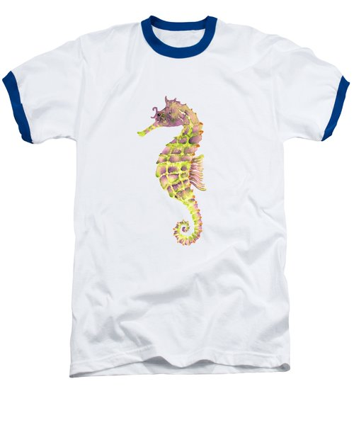 Violet Green Seahorse Baseball T-Shirt by Amy Kirkpatrick