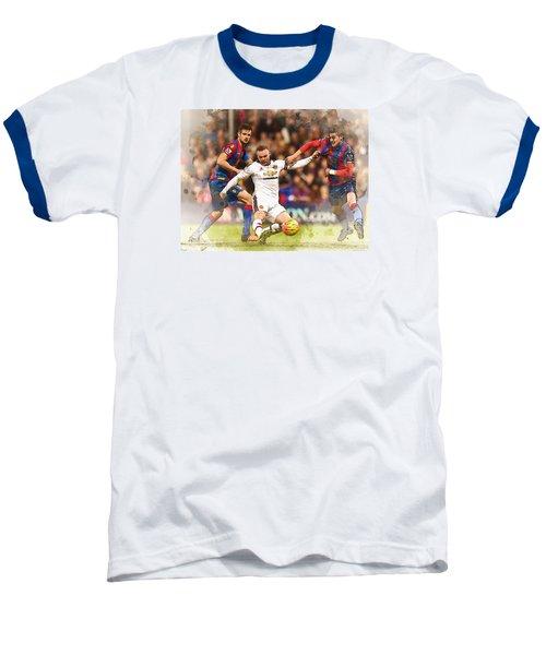 Wayne Rooney Shoots At Goal Baseball T-Shirt by Don Kuing