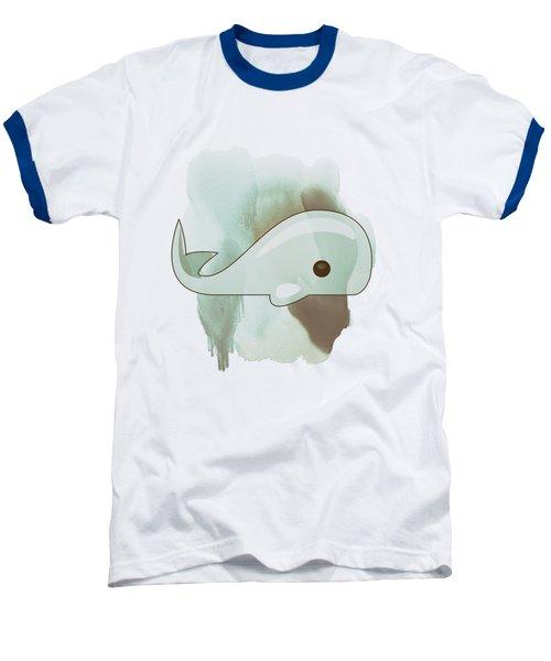 Whale Art - Bright Ocean Life Pastel Color Artwork Baseball T-Shirt by Wall Art Prints