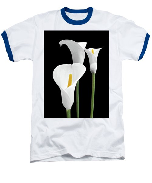 White Calla Lilies Baseball T-Shirt by Gill Billington