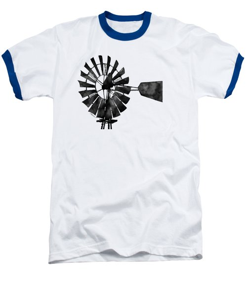 Windmill In Black And White Baseball T-Shirt by Hailey E Herrera