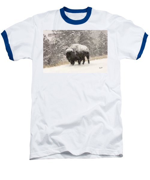 Baseball T-Shirt featuring the digital art Winter Bison by Walter Chamberlain
