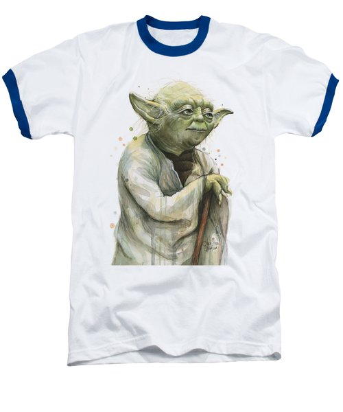 Yoda Watercolor Baseball T-Shirt by Olga Shvartsur