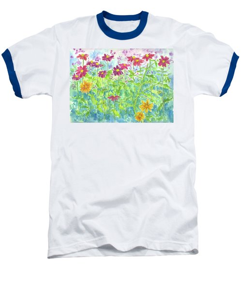 Baseball T-Shirt featuring the painting Zinnias  by Cathie Richardson