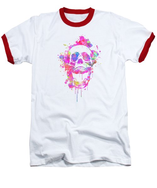 Cool And Trendy Pink Watercolor Skull Baseball T-Shirt by Philipp Rietz