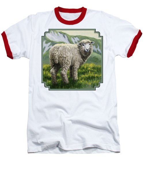 Highland Ewe Baseball T-Shirt by Crista Forest