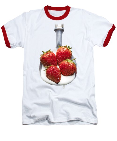 Strawberries N Cream Baseball T-Shirt by Jon Delorme