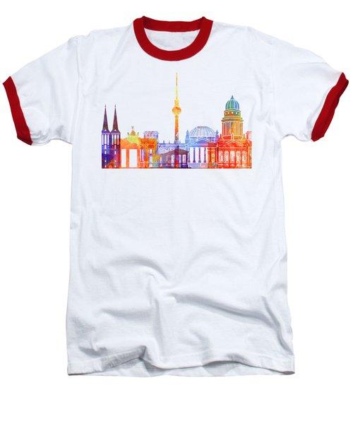 Berlin Landmarks Watercolor Poster Baseball T-Shirt by Pablo Romero