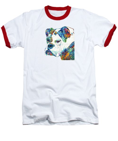 Colorful English Bulldog Art By Sharon Cummings Baseball T-Shirt by Sharon Cummings