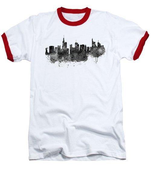 Frankfurt Black And White Skyline Baseball T-Shirt by Marian Voicu