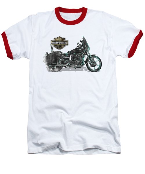 Baseball T-Shirt featuring the digital art Harley-davidson Motorcycle With 3d Badge Over Vintage Patent by Serge Averbukh
