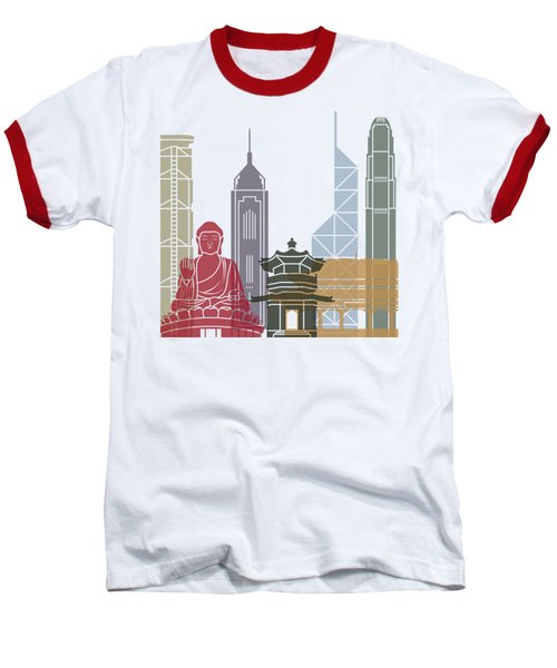 Hong Kong Skyline Poster_v2 Baseball T-Shirt by Pablo Romero