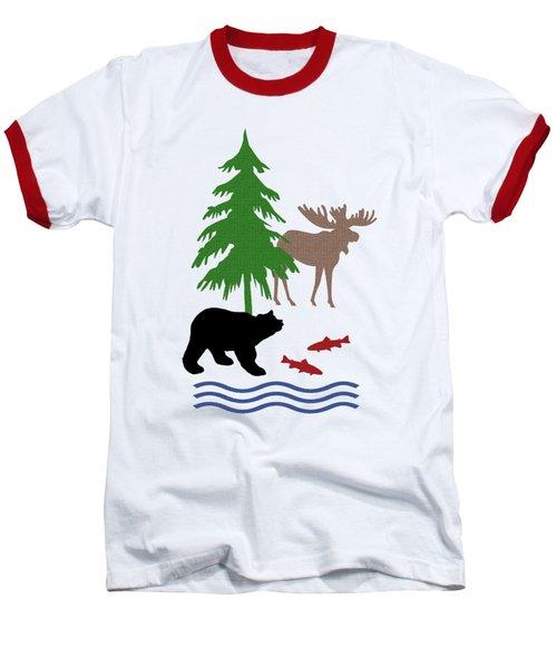 Moose And Bear Pattern Art Baseball T-Shirt by Christina Rollo