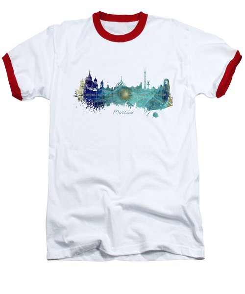 Moscow Skyline Wind Rose Baseball T-Shirt by Justyna JBJart