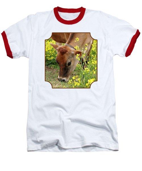 Pretty Jersey Cow Square Baseball T-Shirt by Gill Billington