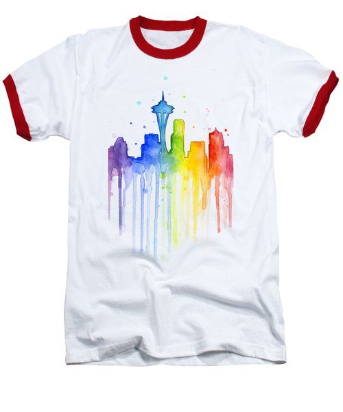 Seattle Rainbow Watercolor Baseball T-Shirt by Olga Shvartsur