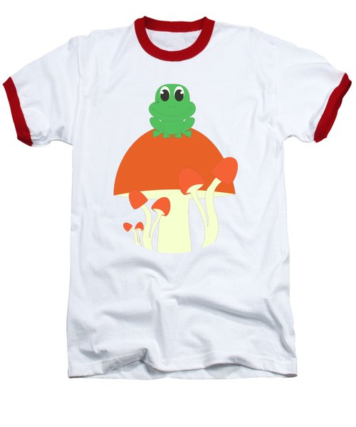 Small Frog Sitting On A Mushroom  Baseball T-Shirt by Kourai