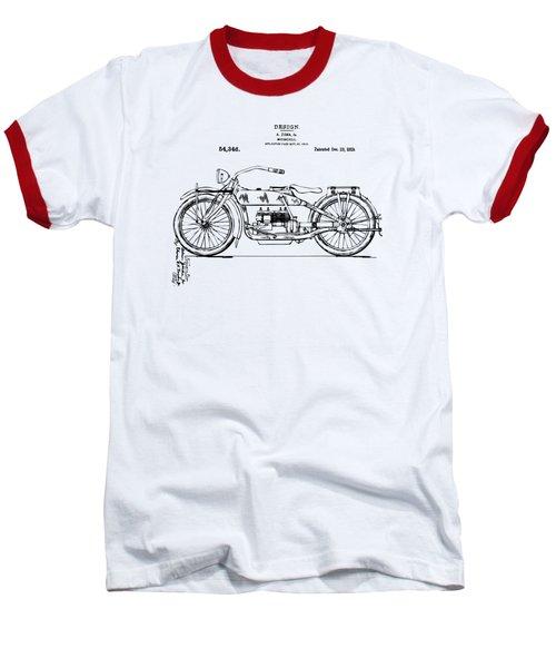 Vintage Harley-davidson Motorcycle 1919 Patent Artwork Baseball T-Shirt by Nikki Smith