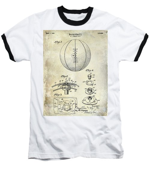 1927 Basketball Patent Drawing Baseball T-Shirt by Jon Neidert