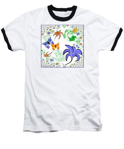 556 - Flowers And Butterflies Baseball T-Shirt by Irmgard Schoendorf Welch
