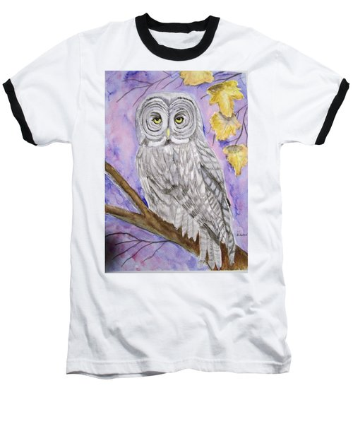 Grey Owl Baseball T-Shirt by Belinda Lawson