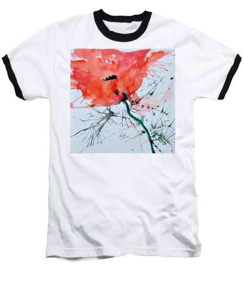Baseball T-Shirt featuring the painting  Lonely Poppy by Ismeta Gruenwald