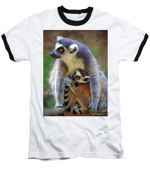 Baseball T-Shirt featuring the photograph    Mother And Baby Monkey by Savannah Gibbs