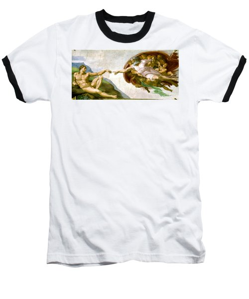 The Creation Of Adam Baseball T-Shirt by Michelangelo di Lodovico Buonarroti Simoni