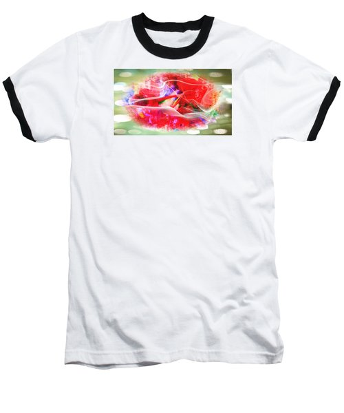The Flowers Of Fiery Red In Abstract Concept  Baseball T-Shirt