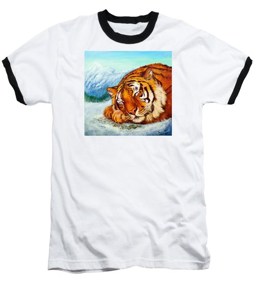 Baseball T-Shirt featuring the painting  Tiger Sleeping In Snow by Bob and Nadine Johnston