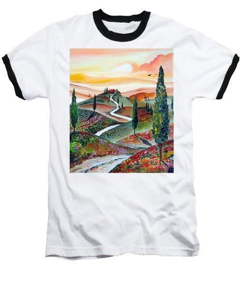 Winding Country Road Among The Hills Of Tuscany Baseball T-Shirt