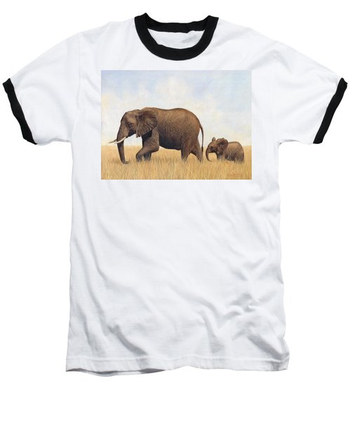 African Elephants Baseball T-Shirt