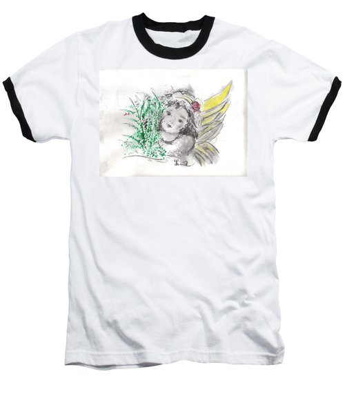 Christmas Angel Baseball T-Shirt by Laurie L
