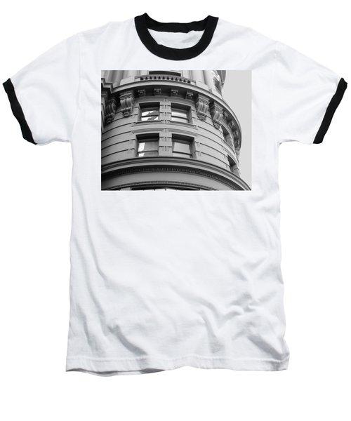Circular Building Details San Francisco Bw Baseball T-Shirt by Connie Fox