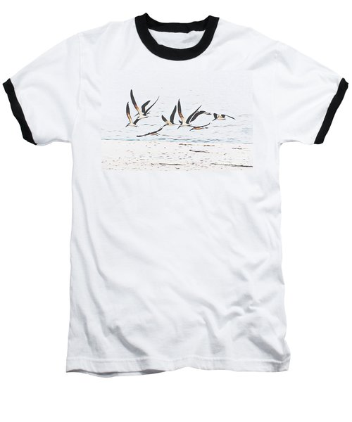 Coastal Skimmers Baseball T-Shirt by Scott Cameron