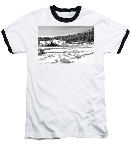 Baseball T-Shirt featuring the photograph Evergreen Lake House Winter by Ron White