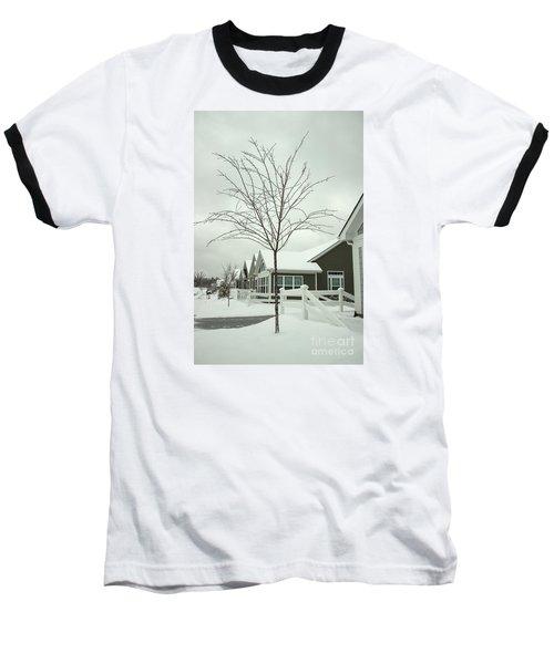 Hello Snow Baseball T-Shirt by Roberta Byram