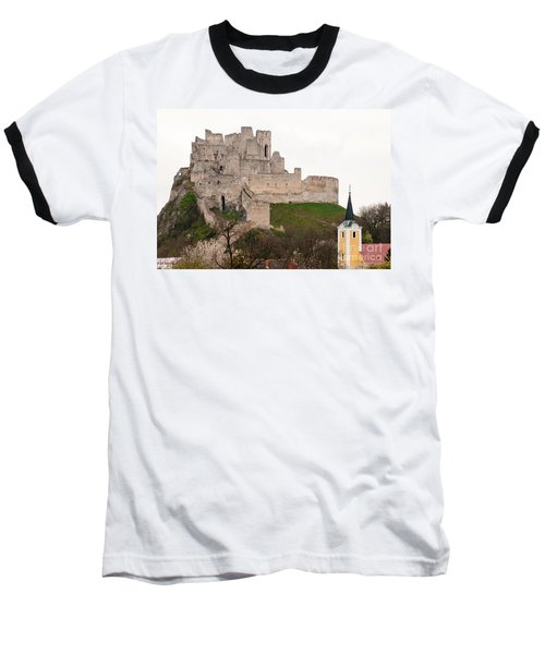 Baseball T-Shirt featuring the photograph Hrad Beckov - Castle by Les Palenik