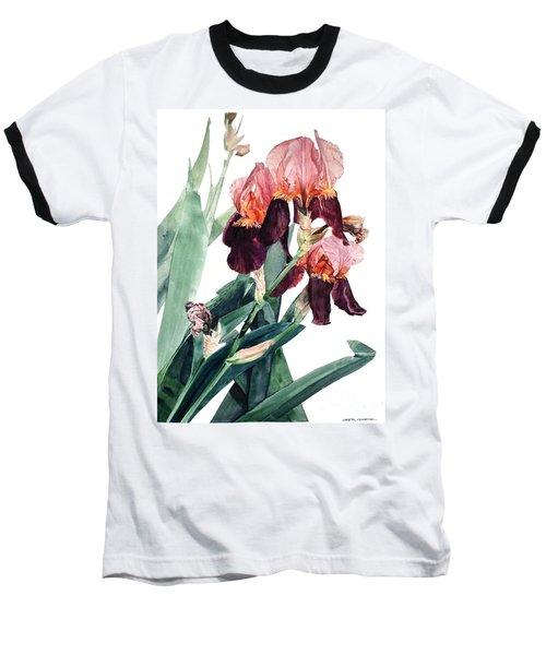 Watercolor Of A Pink And Maroon Tall Bearded Iris I Call Iris La Forza Del Destino Baseball T-Shirt
