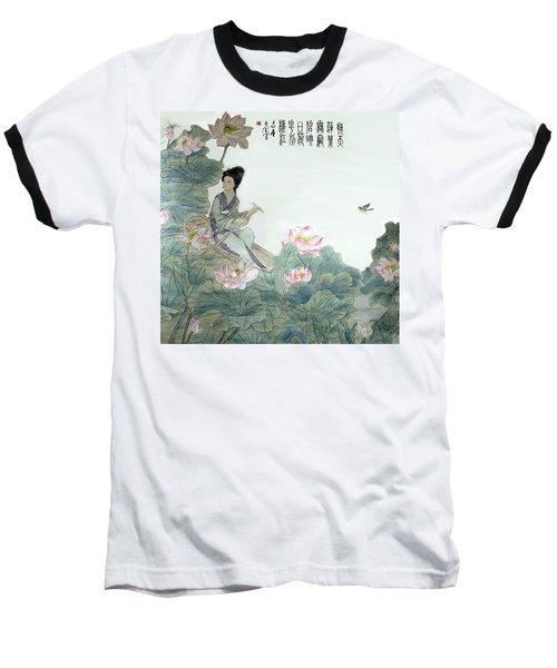 Lotus Pond Baseball T-Shirt by Yufeng Wang