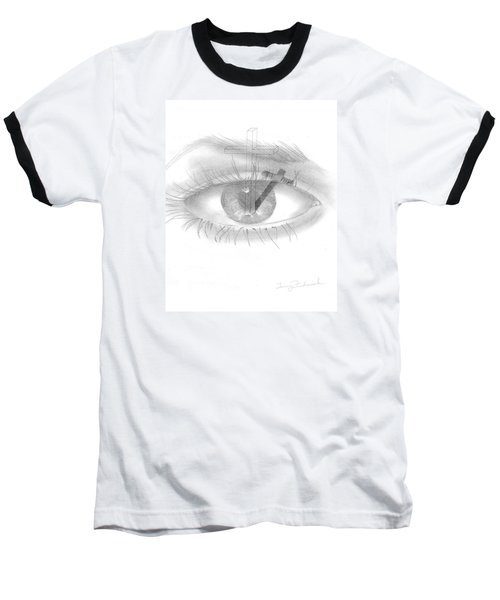 Plank In Eye Baseball T-Shirt by Terry Frederick
