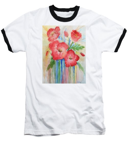 Poppies Baseball T-Shirt by Christine Lathrop