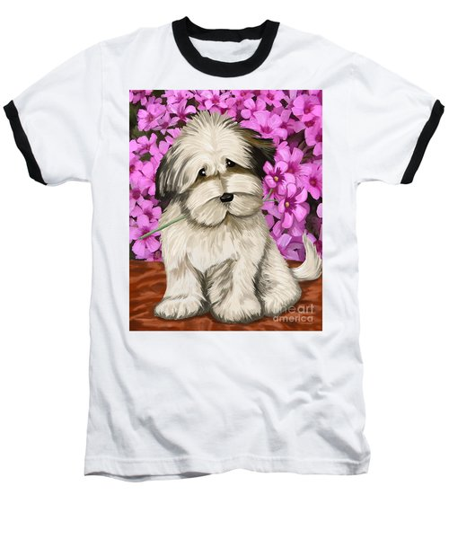 Baseball T-Shirt featuring the painting Puppy In The Flowers by Tim Gilliland