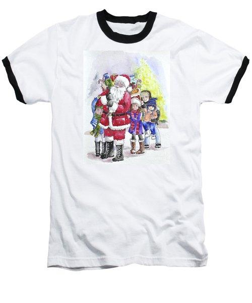 Santa And Children Baseball T-Shirt